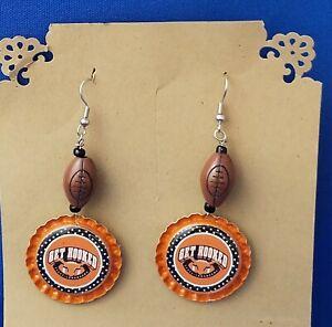GET-HOOKED-Texas-University-Football-Bottle-Cap-Wire-Earrings-Sport-Jewelry