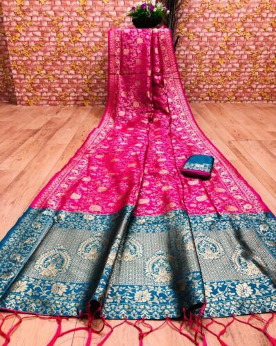 Saree sari indian designer silk wear Banarasi wedding blouse new partyWear fancy