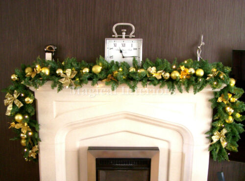 Luxe 2.7m extra large gold bauble poinsettia bow christmas garland swag 9ft ***