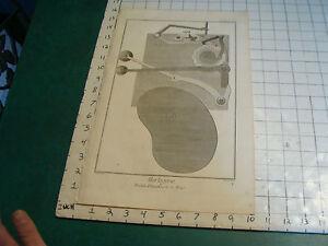 """Original engraving 1760's 10 1/2 x 16"""" PENDULE D'EQUATION DE LE BON"""