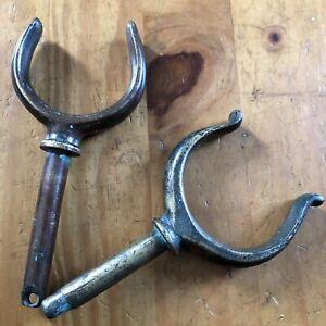 2 VINTAGE SOLID BRASS ROWLOCKS OARLOCKS ROW LOCKS OAR LOCKS ROWING BOAT Upcycle