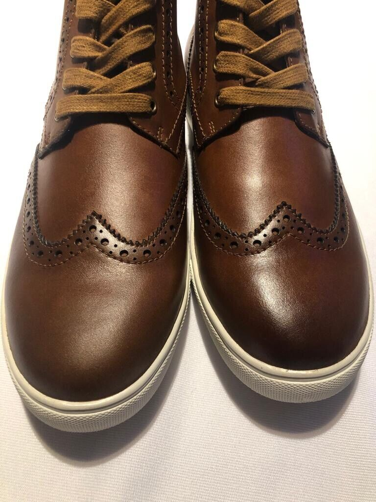 French Connection Mens High Top Leather Casual Boots Shoes Brown Size Uk7.5 Eu41