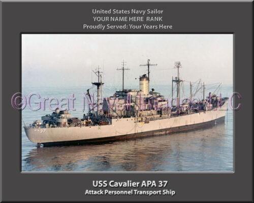 USS Cavalier APA 37 Personalized Canvas Ship Photo Print Navy Veteran Gift