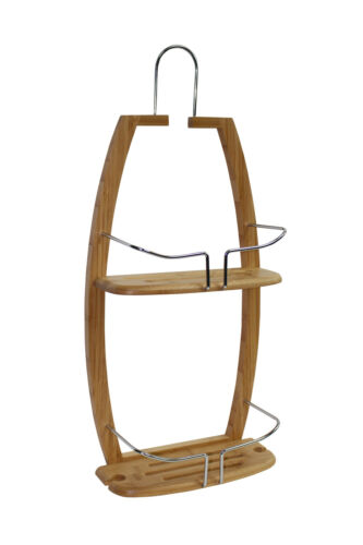 Bamboo 2 Tier Hanging Shower Caddy Storage Basket Organiser Bathroom Storage