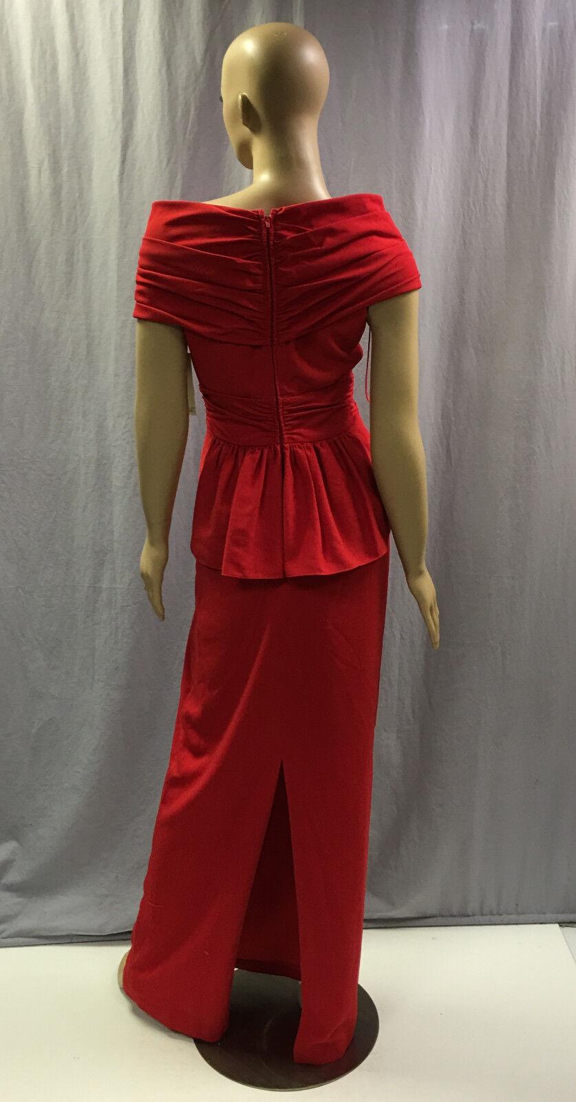 NEW BADGLEY MISCHKA  550 RED PORTRAIT COLLAR COLLAR COLLAR PEPLUM EVENING GOWN DRESS SZ 8 4126ed