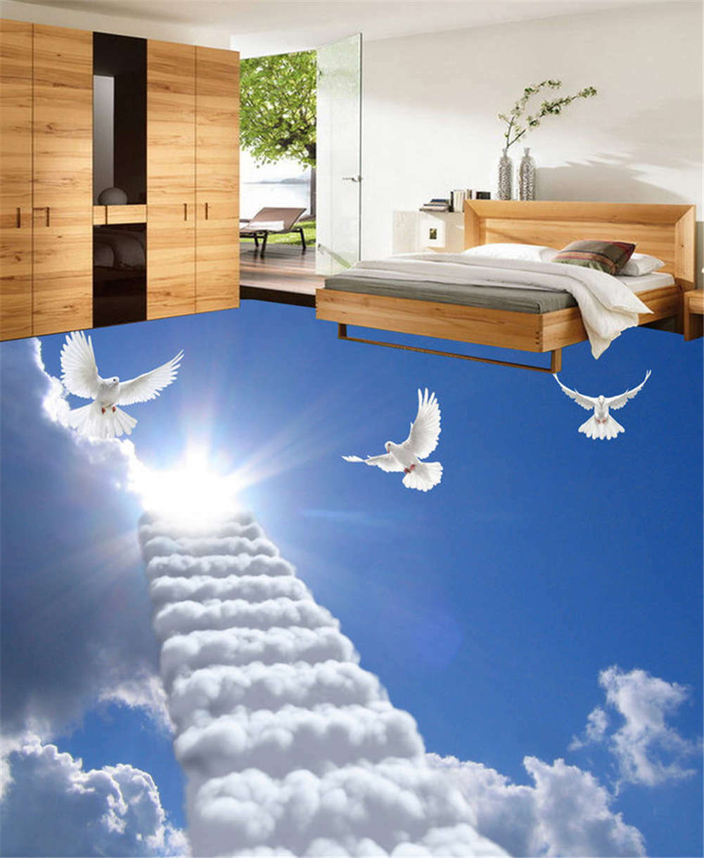 Skywards Ladder 3D Floor Mural Photo Flooring Wallpaper Home Print Decoration