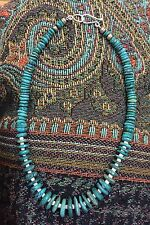 Old Pawn Native America Sterling Silver BENCH BEAD AQUA TURQUOISE CHUNK NECKLACE