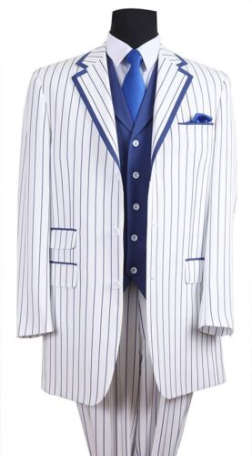Blue Stripes Men/'s Elegant Luxurious Wool Feel Pinstripes Suit with Solid Vest