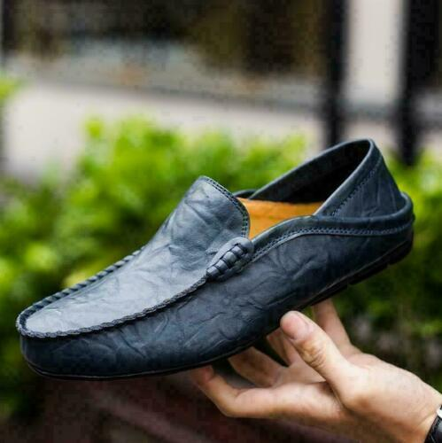 Mens Driving Casual Boat Genuine Leather Soft Shoes Moccasin Slip On Loafers New