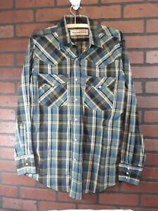 d08116e3 Bit And Bridle Pearl Snap Western Wear Plaid Shirt Long Sleeve Mens ...