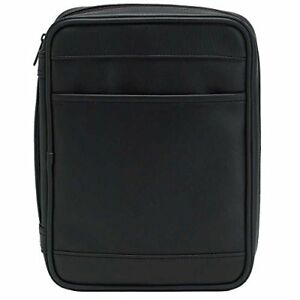 Black Outer Pocket 7.5 x 10.5 Leather Like Vinyl Bible Cover Case with Handle Large
