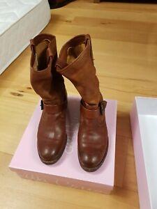 Details zu Frye Leder Cowboy Boots hellbraun, biker Boot Größe 37 damen Stiefel