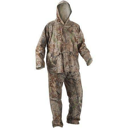 realtree hunting camo size medium large rain suit pvc pants trousers