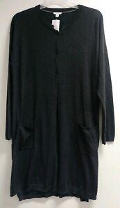 poche XL poly Nwt 99 Tunique nylon Nouveau Cardigan J de foncé bois longue Jill Laine Charbon IwafUY6fxq