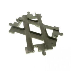 1-x-Lego-Duplo-Schiene-Weiche-Kreuzung-alt-dunkel-grau-Eisenbahn-Kreuz-Gabelung