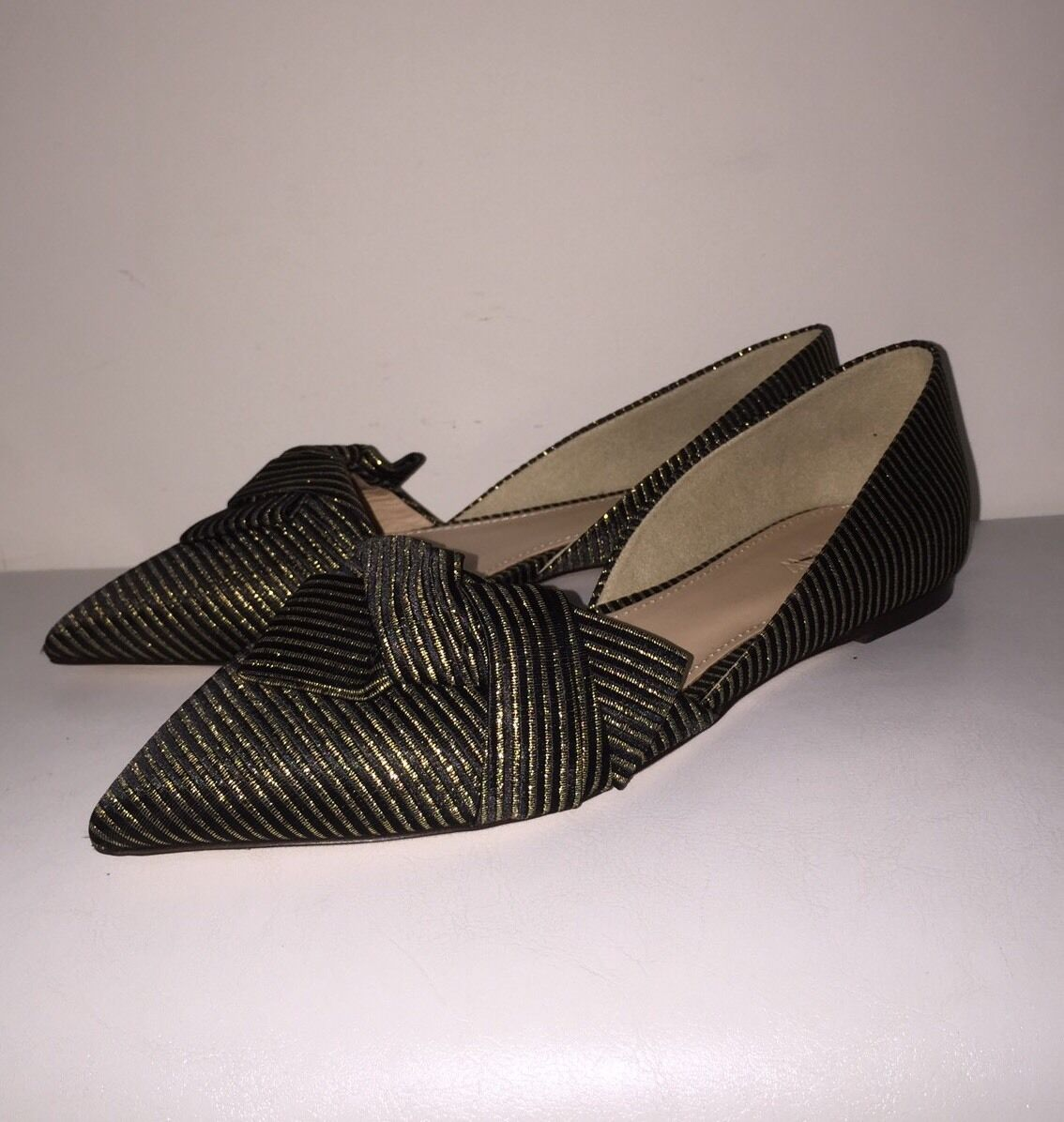 J.Crew 158 Sloan Striped D'Orsay flats with obi bow 6 e4667 schwarz gold stripe