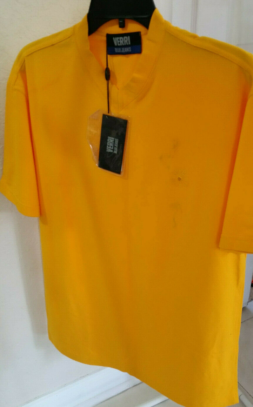 AS-IS NEW VERRI blueE JEANS MENS T-SHIRT MADE IN ITALY SIZE 56  2XL BRIGHT YELLOW