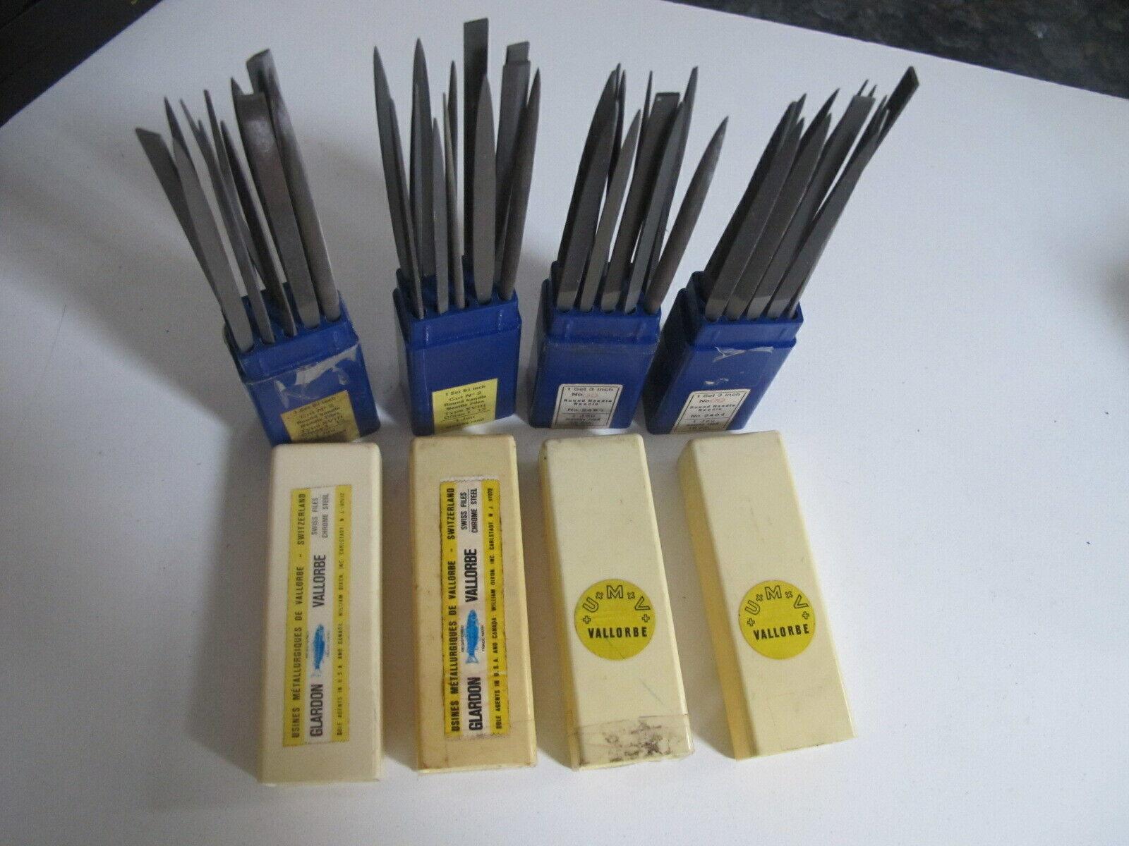 12 Swiss Pattern Files +Box Glardon Vallorbe ROUND HANDLE NEEDLE FILE CUT 00,2