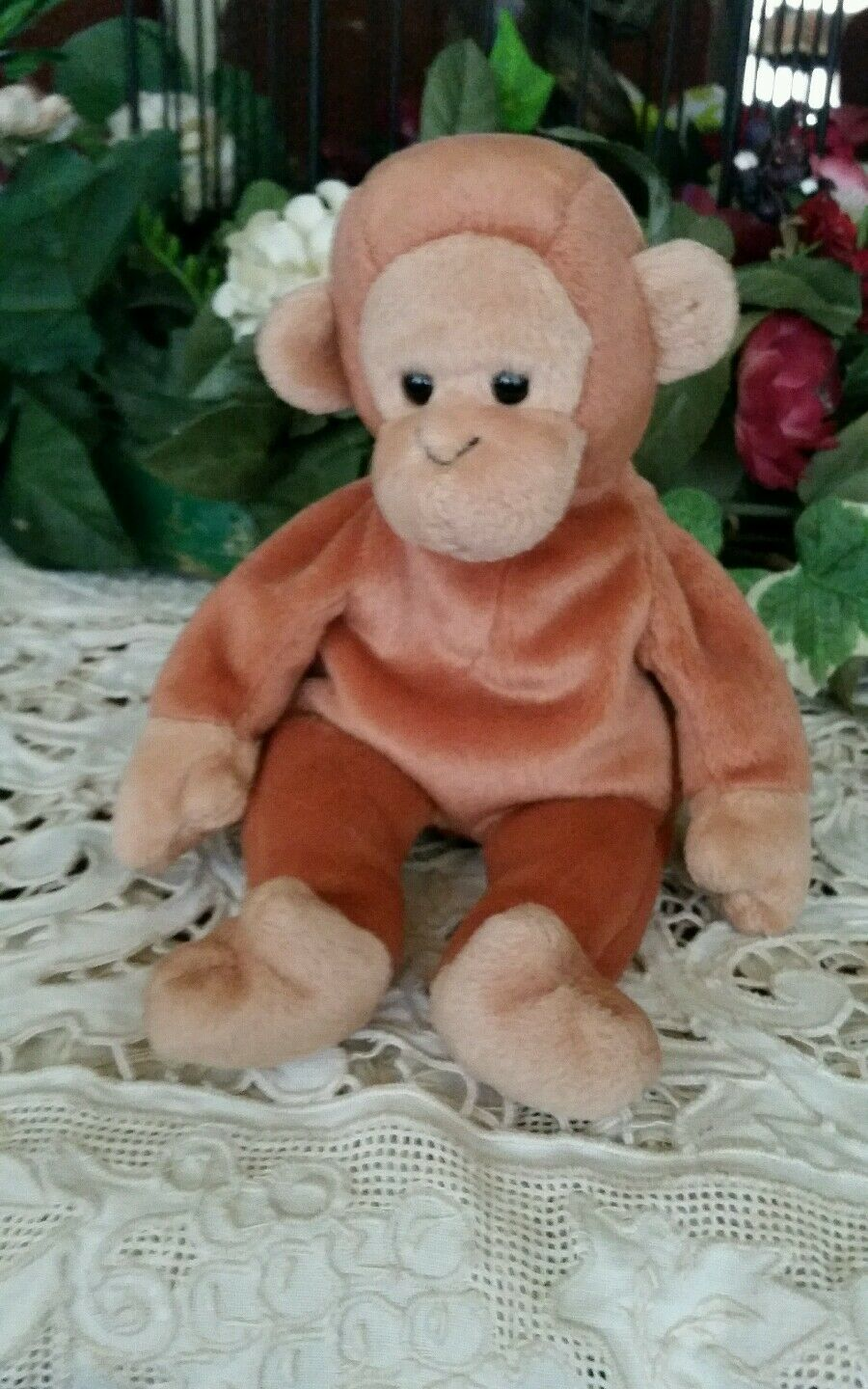 TY Beanie Babies Bongo Monkey 1995 Stuffed Animal Plush 8  retired collectible