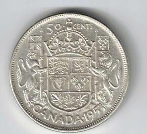 CANADA-1953-NSF-LD-50-CENT-HALF-DOLLAR-QUEEN-ELIZABETH-CANADIAN-800-SILVER-COIN