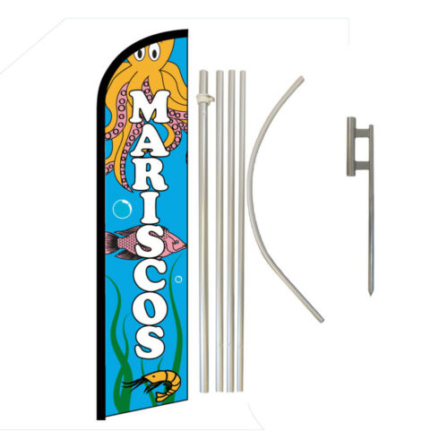 Mariscos Full Curve Swooper Windless Advertising Flag Mexican Food Seafood