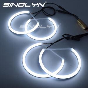For-BMW-E46-Halogen-Headlight-Retrofit-LED-Angel-Eyes-Halo-DRL-131-146mm-White