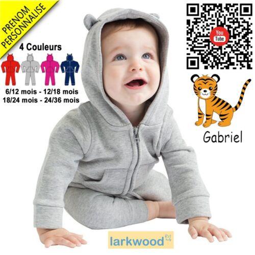Broderie Tigre V3 Combinaison Polaire Grenouillère bébé