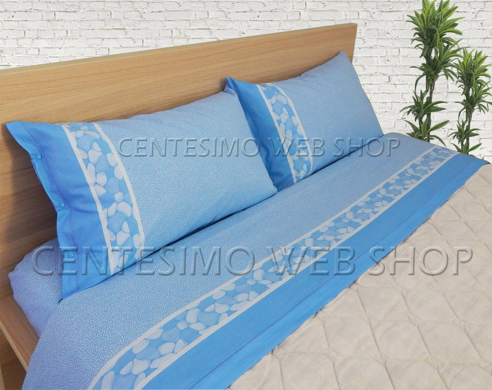 COMPLETO LENZUOLA MATRIMONIALE MADE ITALY COTONE LETTO DUE PIAZZE PIAZZE PIAZZE AZZURRO 4CLASA d77dc0