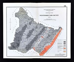 1878 Geological Map Westmoreland County Pennsylvania by