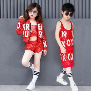 fa8537e7e Boys Girls Children Modern Jazz Hip-Hop Dancewear Kids Dance Sequins ...