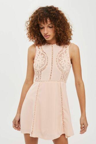 Top shop WYLDR Blush Pink Lace Insert Skater Tea Party Dress UK SIZE 12