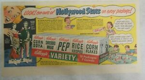 Kellogg's Pep Cereal Ad: Hollywood Stars ! from 1949 Size 7.5 x 15 inches