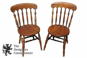 Pleasant Details About 19Th Century Early American Country Spindle Back Accent Chairs Round Seat 36 Andrewgaddart Wooden Chair Designs For Living Room Andrewgaddartcom