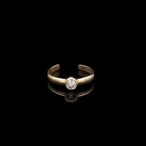 Fancy Toe Ring Bezel 0.11 ct créé diamant solide 14K Or Jaune