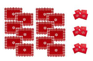 Juego-de-12-Manteles-Individuales-12-Posavasos-Copo-de-Nieve-Navidad-lazercut-Rojo-Fieltro-De-Mesa