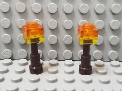 New LEGO Lot of 2 Black Minifig Torch Holders Accessory Pieces