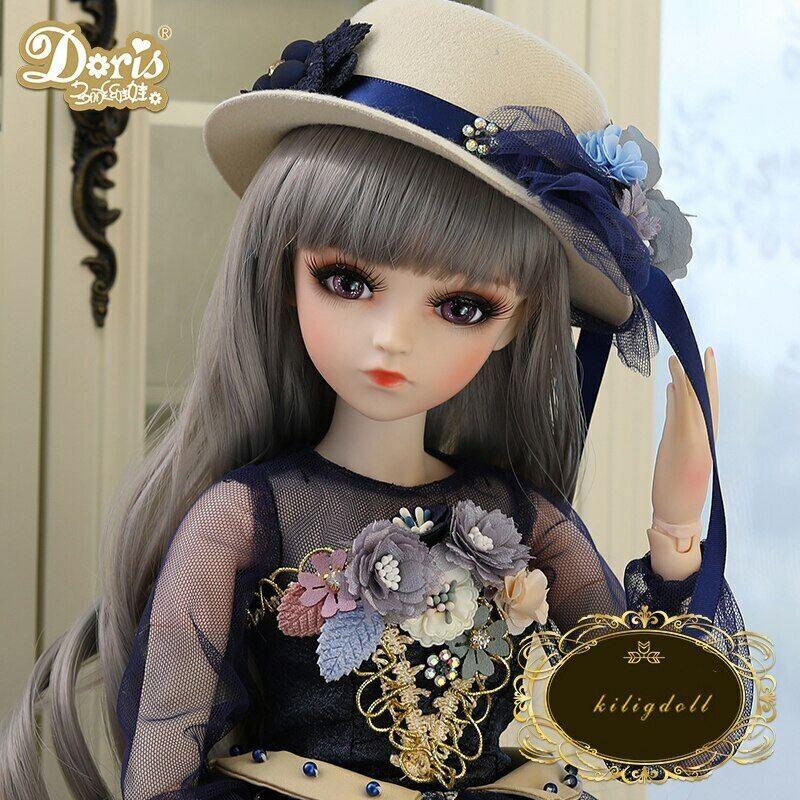 60cm 1 3 BJD Puppe Ball Jointed Doll Girl + Augen Gesicht Make-up Kleidung Hut