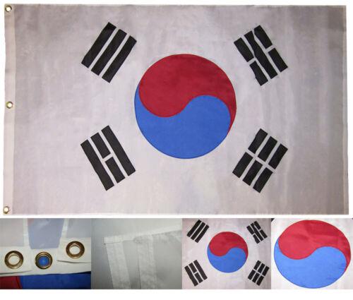 3x5 Embroidered Sewn South Korea Country Premium Quality 300D Nylon Flag 3/'x5/'