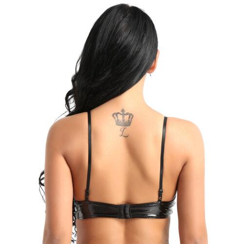 Womens Latex Leather Bra Nipple Open Bust Bralette Zipper Crop Top Cupless Vest