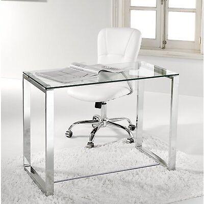 Mesa de estudio oficina despacho, cristal transparente y cromado, Benetto