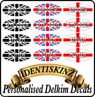 Delkim TXI PLUS EV Domed Sticker / Decal PERSONALISED set of 4 FLAG STYLE