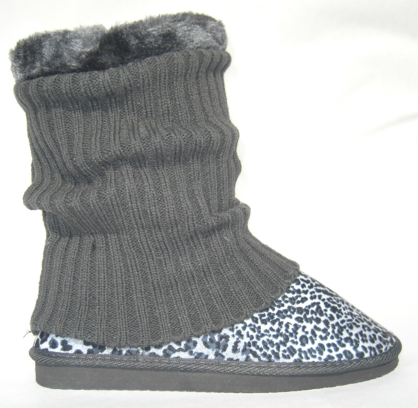 """BLACK LEOPARD CHEETAH BOOTS W/ SOCK COVER ~ SHEARLING ~ """"CARDY"""" CLASSIC SHORT"""