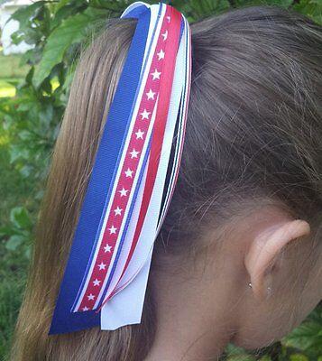 USA/Patriotic/4th of July Red White Blue Ribbon Streamer Ponytail Holder