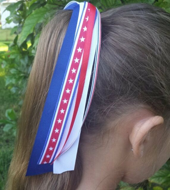 USA/Patriotic/4th of July Red White Blue Ribbon Streamer Ponytail Holder