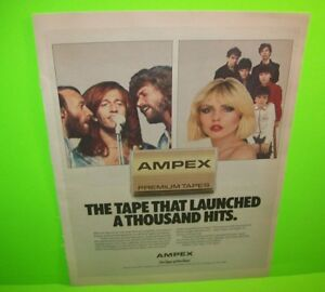 Blondie-The-Bee-Gees-Vintage-Ampex-Cassette-Tape-Magazine-AD-1979-Ready-To-Frame