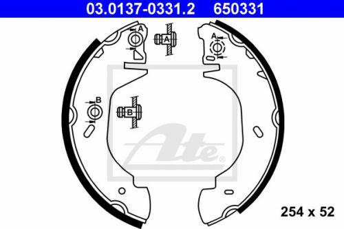 Bremsbackensatz für Bremsanlage Hinterachse ATE 03.0137-0331.2