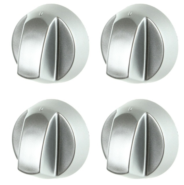 4 X SILVER KNOB KITS TO FIT HYGINA OVEN//HOB//COOKER WITH INSTRUCTIONS