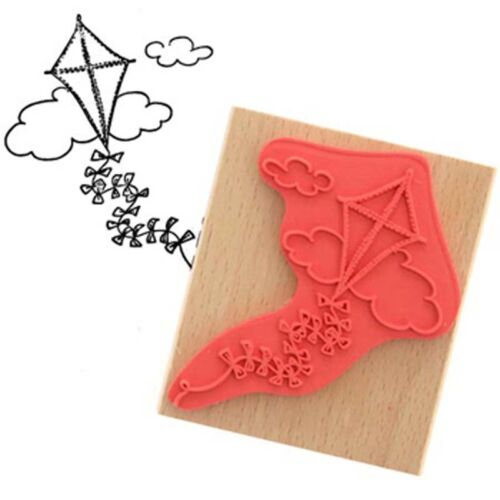 Create /& Craft FLYING KITE Rubber Ink Stamp on Beech Block Free UK P/&P