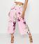 NEW Boohoo High Waist Oriental Wide Leg Womens Trousers Cropped Blush Pink