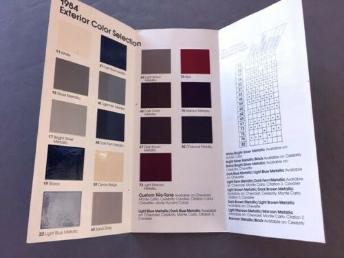 Camaro Monte Carlo Z28 Caprice 1984 Chevrolet Color Paint Car Brochure Guide